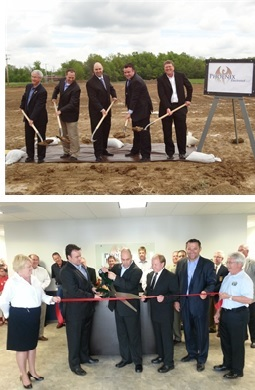 men standing in suits with shovels, men and women dressed up with large scissors cutting a ribbon